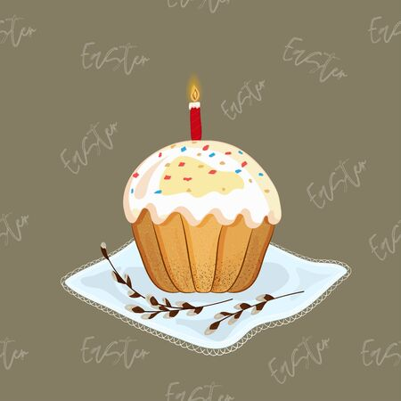 Easter cake with a candle and willow branches on a festive napkin. Great easter holiday. Vector