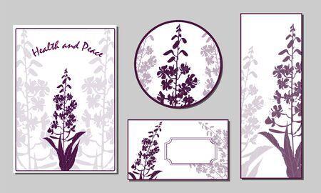 Set of cards and cards with silhouettes of blooming sally flowers. Vector