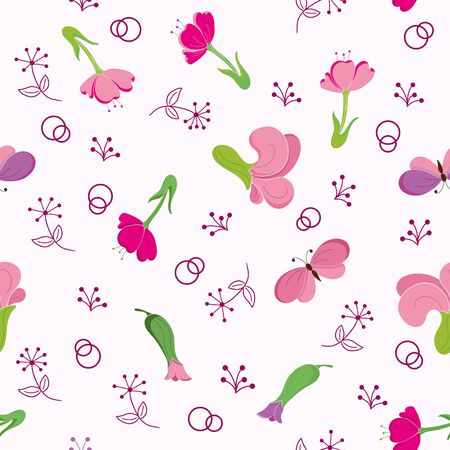 Pink seamless pattern with flowers and butterflies scattered randomly. Vector