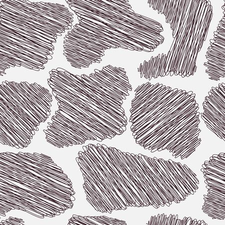 Irregular objects are shaded by chaotic and intricate doodles. Seamless pattern for packaging, cards, branding. Vector Ilustração