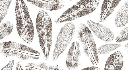 Seamless pattern with scattered prints of gray elongated leaves on a white background. Universal base for packaging, flyers and postcards