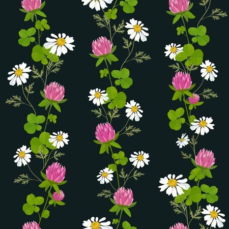 Vertical pattern of wildflowers of pink clover and chamomile. Seamless background. Vector