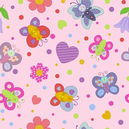 Funny butterflies and flowers on a pink seamless background