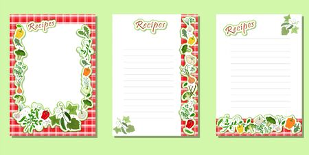 A set of sheets for recording menus, diet, ingredients with a frame of vegetables in the form of a sticker on a red oilcloth. Diet and healthy lifestyle.