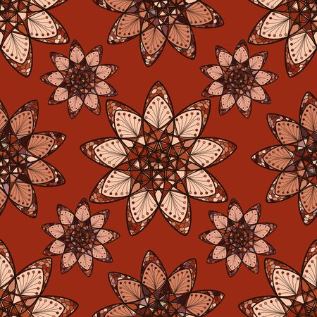 Seamless pattern with ethnic mandalas in brown-pink color.  イラスト・ベクター素材