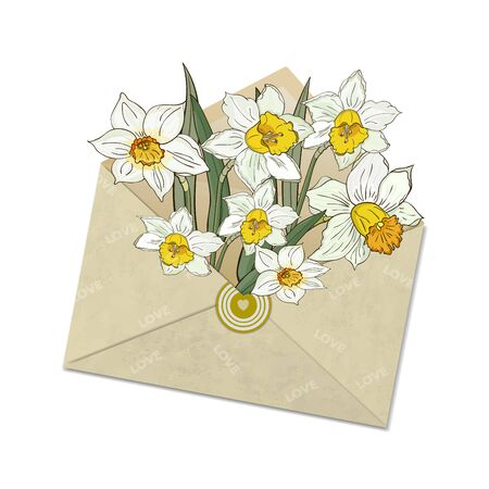 A bouquet of daffodils in an open mail envelope with the inscription love. Illustration