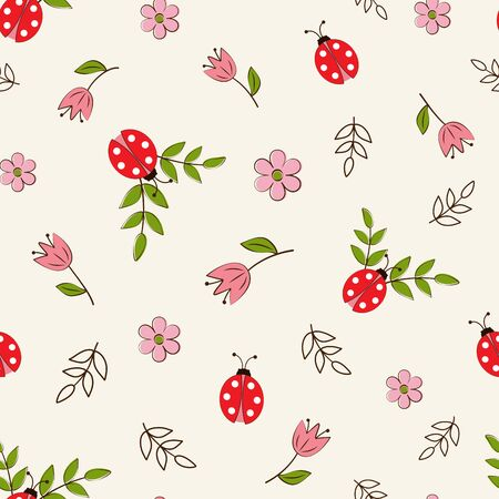 WebSeamless pattern with ladybugs and flowers on a white background in a flat style. Vector Illustration