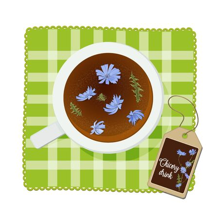 Cup on a napkin with a drink of chicory flowers. View from above. Vector