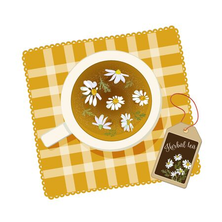 Cup with chamomile tea on a yellow napkin. View from above. Vector