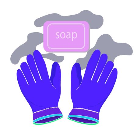 Bar of soap and gloves protection and prevention of coronovirus and infectious diseases. Vector Ilustração