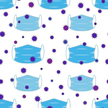 Medical masks and virus on a seamless pattern. Vector 矢量图像
