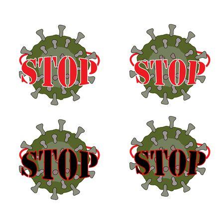 The inscription stop on the cell of the virus. Danger from Coronovirus. Vector
