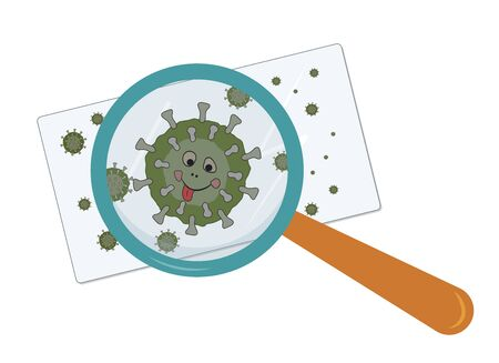 Magnified virus object under a magnifying glass on glass. Vector