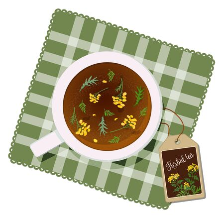 Cup with tea from tansy flowers on a napkin. View from above. Vector 向量圖像
