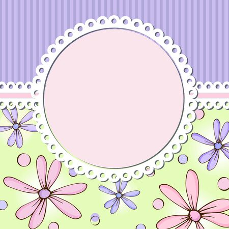 Vintage floral card with a round center to insert text or photo. Vector Foto de archivo - 143301921