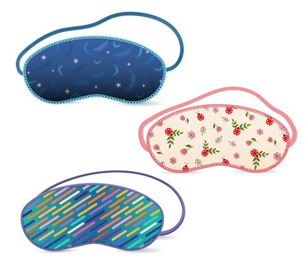 A set of sleep masks with different fabric patterns. Vector illustration.