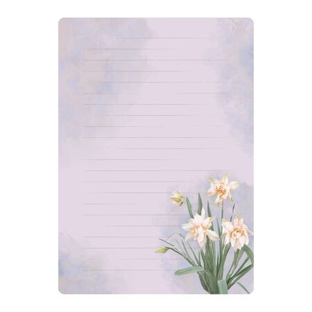 Letterhead with watercolor blurred background and a bouquet of daffodils. Blank sheet for writing in a ruler
