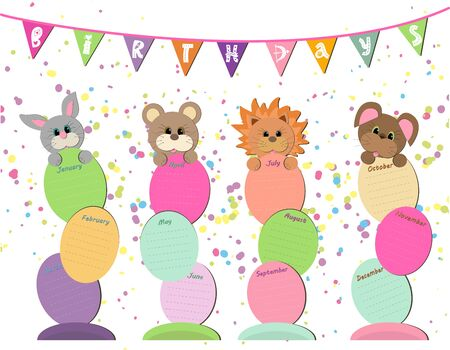 Reminder every month. Do not forget to wish your friends and relatives a happy birthday. Funny picture with animals