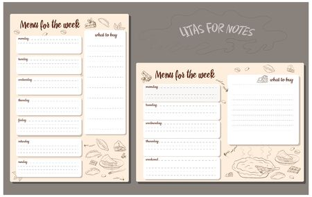 Note sheets in horizontal and vertical execution. Weekly food purchase plan