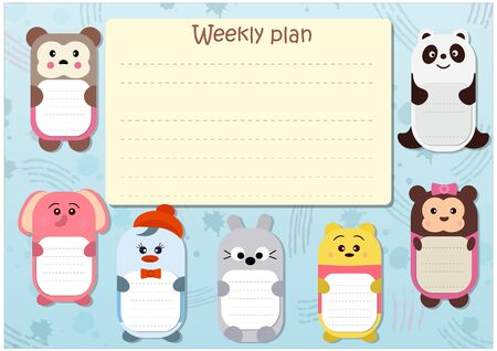 Weekly planner for kids with funny characters 일러스트