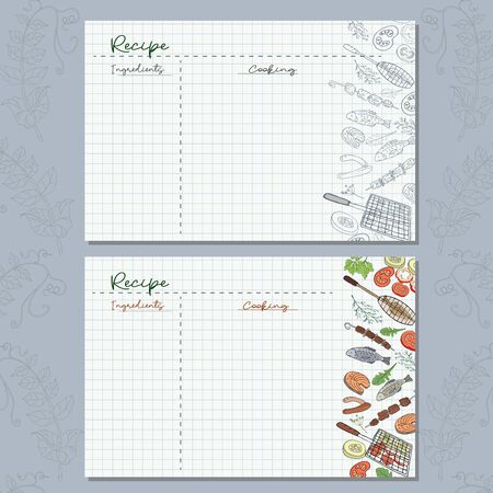 Checkered paper sheets with barbecue elements to write your recipes for a delicious lunch in nature.