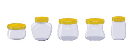 Set of empty glass jars with yellow lids. Isolated objects on a white background