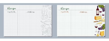 School sheets of paper with hand-drawn pieces of cheese, grapes, glasses and a bottle of wine in monochrome and color for writing delicious recipes for your dishes.