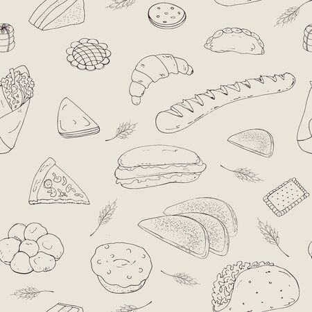 Seamless vector background of their baking objects in the form of hand-drawn pictures, baguette, sandwich, hamburger, donut, croissant, shawarma, on an empty background.