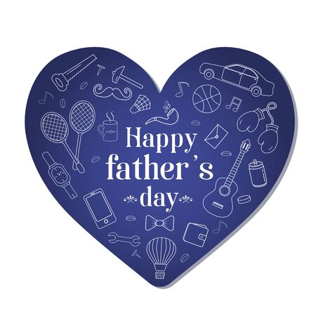 White outlines of men s accessories and men s favorite items against a blue heart in honor of the holiday Father s Day. Vector illustration.