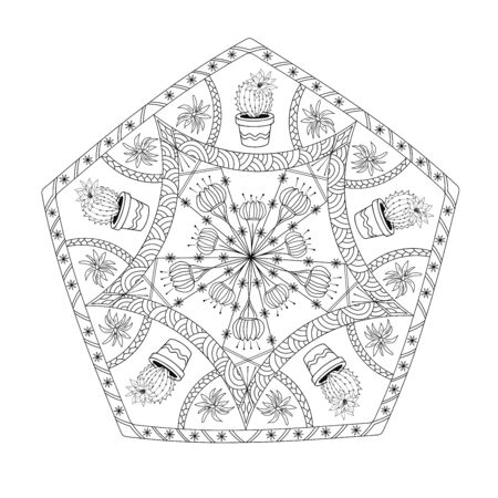 Pentagonal mandala with cactus. Black lines on a white background. Coloring page.