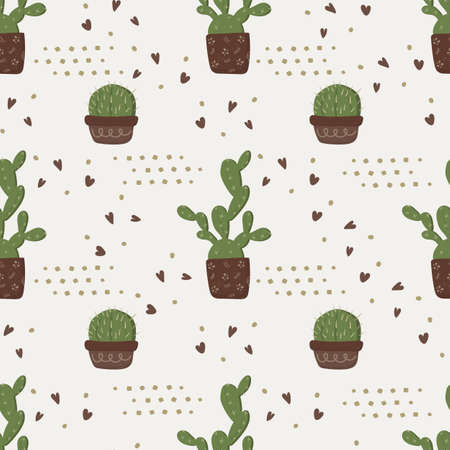 Pattern of cacti in a flower pot with hearts on an empty background. This pattern is suitable for scrapbooking and packaging 向量圖像