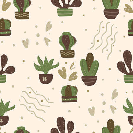 Spiny cactus seamless pattern in a flower pot with hearts and texture. This template is suitable for scrapbooking and packaging