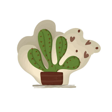 Prickly pear cactus in a flower pot with flying hearts. Vector illustration. Vettoriali
