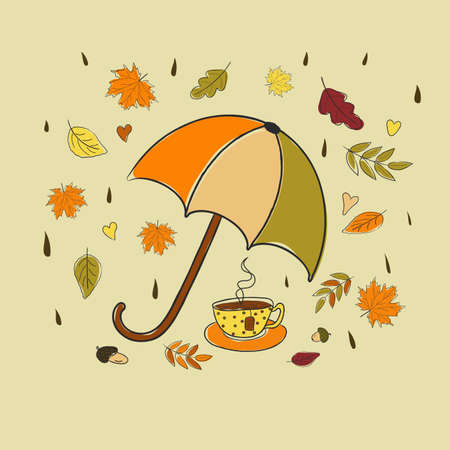 Autumn, vector illustration with flying autumn leaves and a cup of tea under an umbrella.