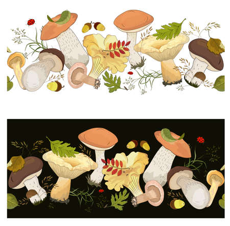 Horizontal seamless border with forest mushrooms and autumn leaves on a white and black background