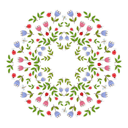 Circular floral mandala with summer stylized flowers. Can be used as a frame for your projects and postcards