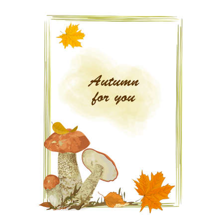 Vertical vector frame with forest mushrooms to decorate your projects and congratulations Stock Illustratie