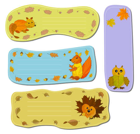 Curly note sheets with forest animals from autumn leaves. Autumn collection