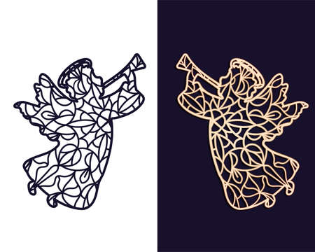 Angel with a musical pipe. Openwork carved stencil for cutting out of paper or on a plotter Çizim