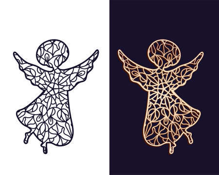 Flying Angel. Openwork carved stencil for cutting out of paper or on a plotter
