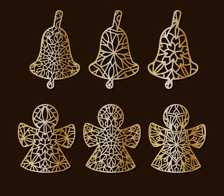A set of carved openwork angels and bells for decoration, paper cutting or on a plotter