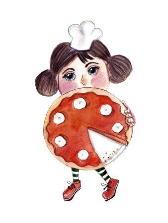 Girl cooking traditional pumpkin pie