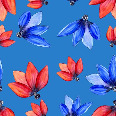 Blue and red tulip petals seamless pattern