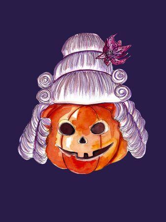 Halloween pumpkin wearing a baroque wig 写真素材