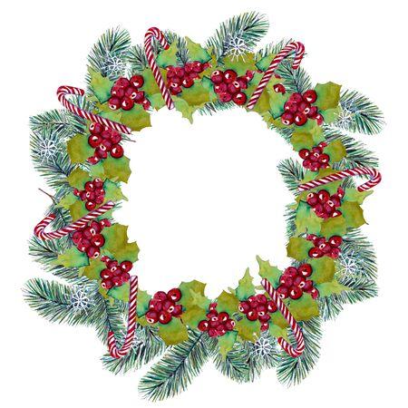 Świąteczny wieniec ozdobiony ostrokrzewem, płatkami śniegu i cukierkami