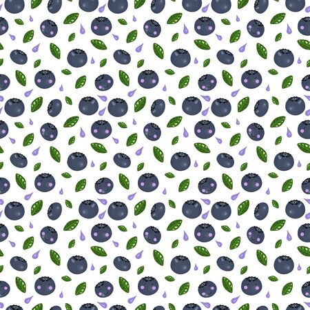 Kawaii cute seamless pattern with blueberries and green leaves and yogurt splashes