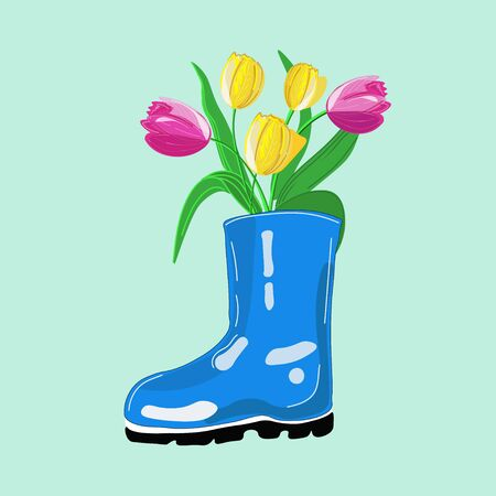Spring composition made of blue rubber boot and bunch of tulips. Vector illustration.