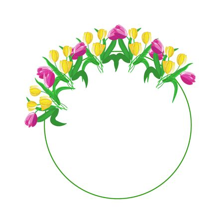 Romantic circle frame decorated with tulips of yellow and pink colors. Vector illustration.