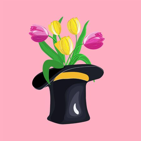 Bunch of tulips standing in a stovepipe hat. Spring vector design.
