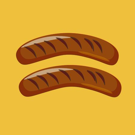 Pair of fried sausages on yellow background. Vector illustration. Stock Illustratie